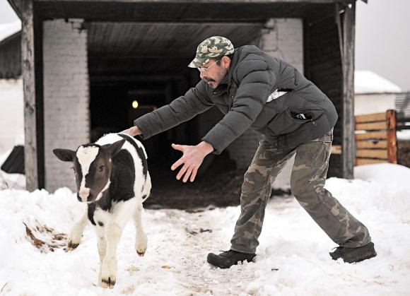 Американец Джей Клоуз на ферме в деревне Крутово. Фото РИА Новости